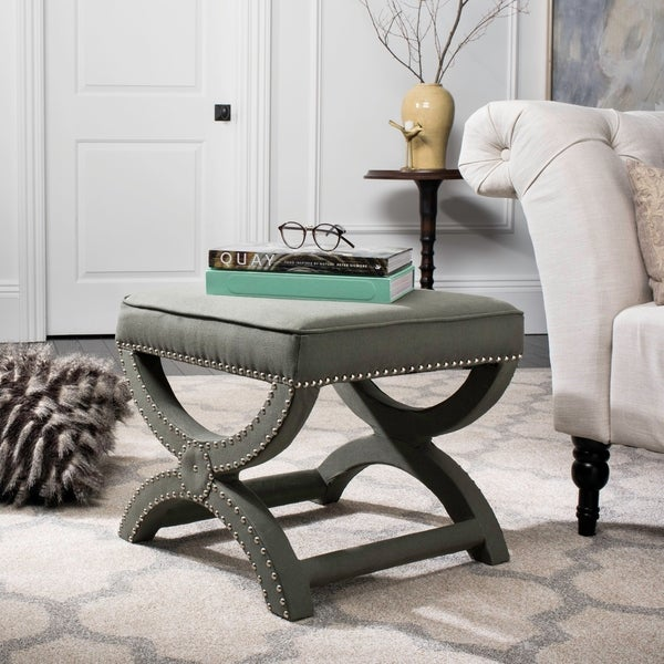Safavieh Dante X-Bench Taupe Grey Ottoman. Opens flyout.