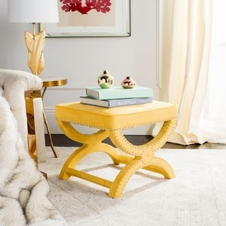 Link to Safavieh Dante X-Bench Yellow Ottoman Similar Items in Living Room Furniture