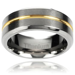 Vance Co. Men's Titanium Two-toned Grooved Center Beveled Edge Band (8 mm)