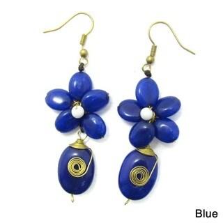 Handmade Romantic Blue Quartz Floral Teardrop Brass Earrings (Thailand)