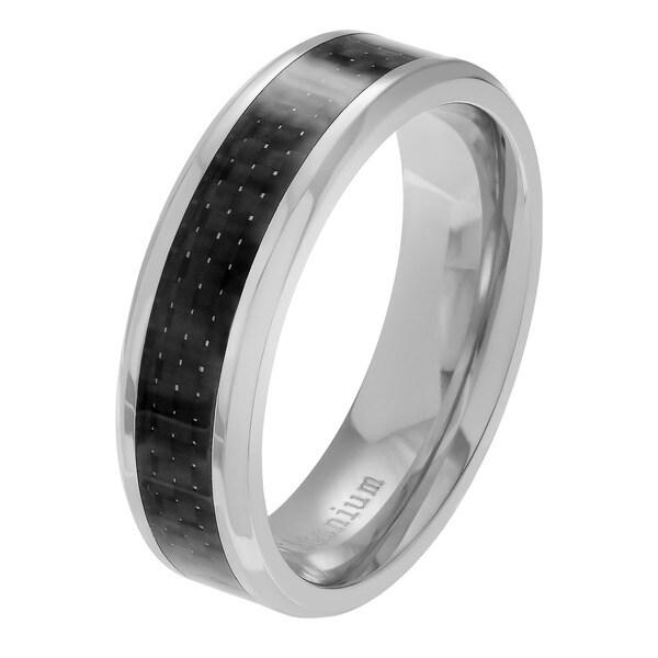 Territory 7 MM Mens Titanium Black Carbon Fiber Wedding Band