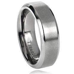 Vance Co. Men's Titanium Brushed Center Beveled Edge Band (7 mm)