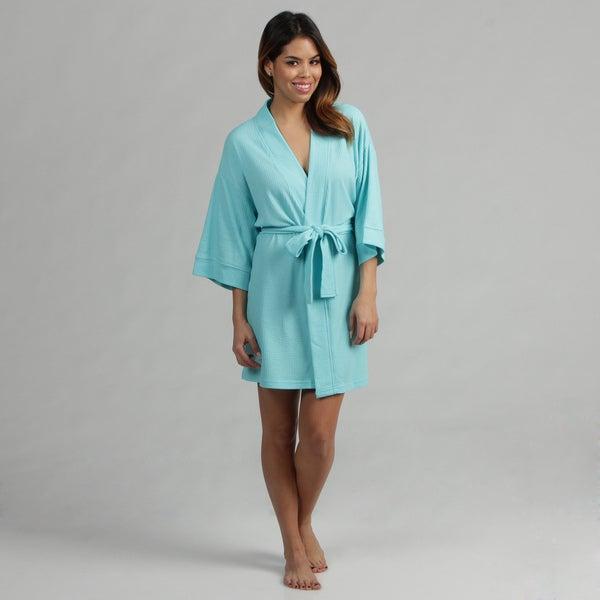 Aegean Apparel Women's Turquoise Knit Waffle Pique Bathrobe