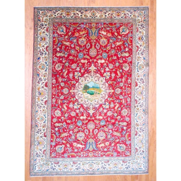 Persian Hand-knotted Tabriz Red/ Ivory Wool Rug (8' x 11'3)