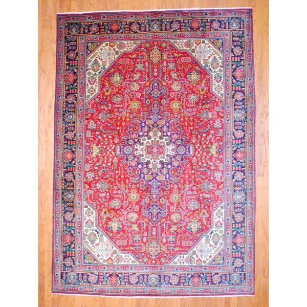 Persian Hand-knotted Tabriz Red/ Navy Wool Rug (8' x 11'7)