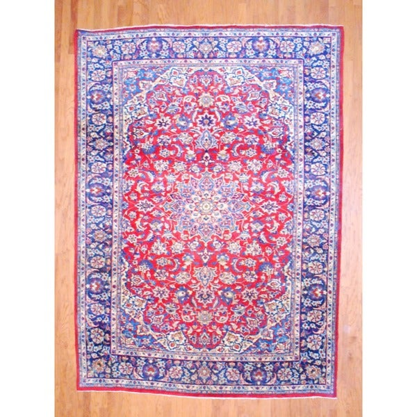 Persian Hand-knotted Isfahan Red/ Navy Wool Rug (8'3 x 11'3)