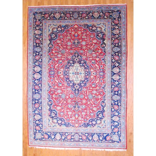 Persian Hand-knotted 1950's Kashan Red/ Navy Wool Rug (7'5 x 11')