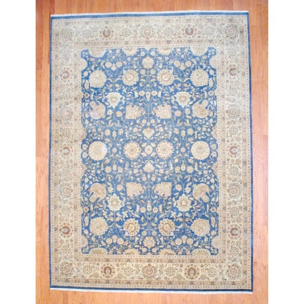 Indo Hand-knotted Vegetable Dye Teal/ Ivory Wool Rug (8'8 x 12')