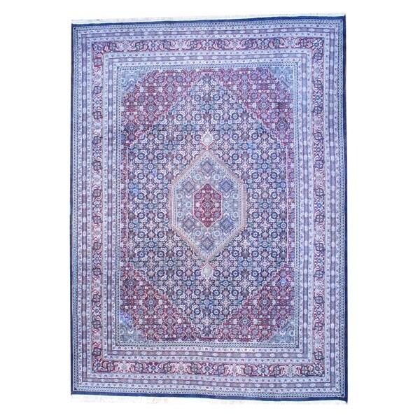 Herat Oriental Indo Hand-knotted Bidjar Navy/ Burgundy Wool Rug (9' x 12'3)