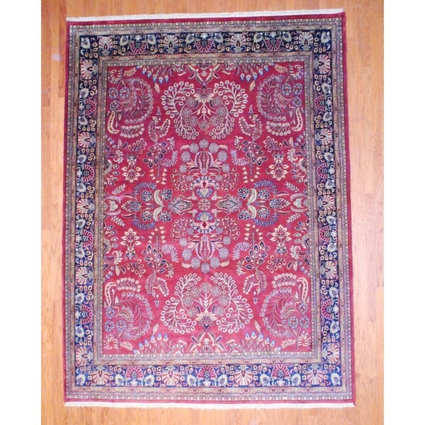 Indo Hand-knotted Sarouk Red/ Navy Wool Rug (8'9 x 11'8)