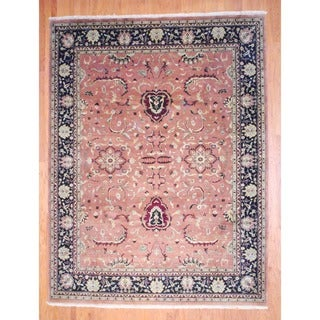 Herat Oriental Indo Hand-knotted Mahal Peach/ Black Wool Rug (9' x 11'10)