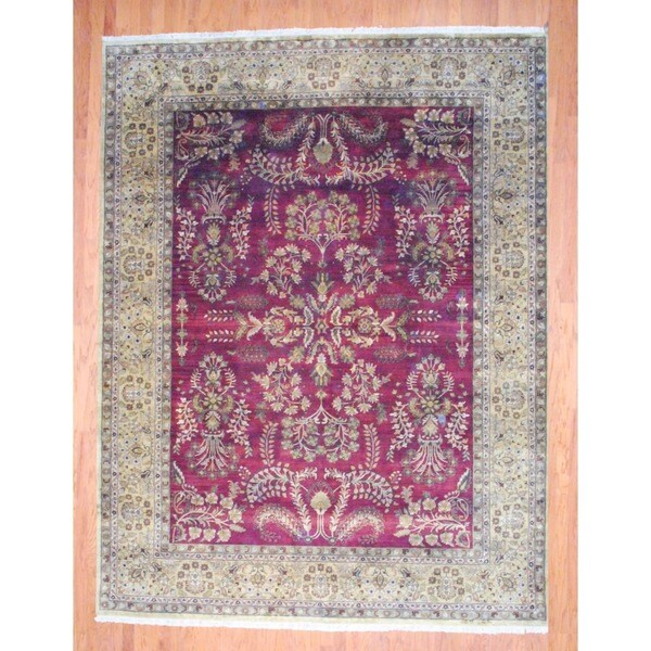Indo Hand-knotted Sarouk Burgundy/ Gold Wool Rug (9' x 12')