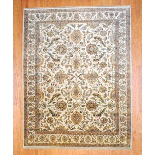 Indo Hand-knotted Mahal Ivory/ Gold Wool Rug (9' x 12')