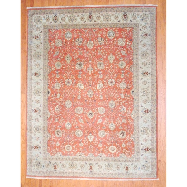 Indo Hand-knotted Mahal Rust/ Beige Wool Rug (9' x 12')