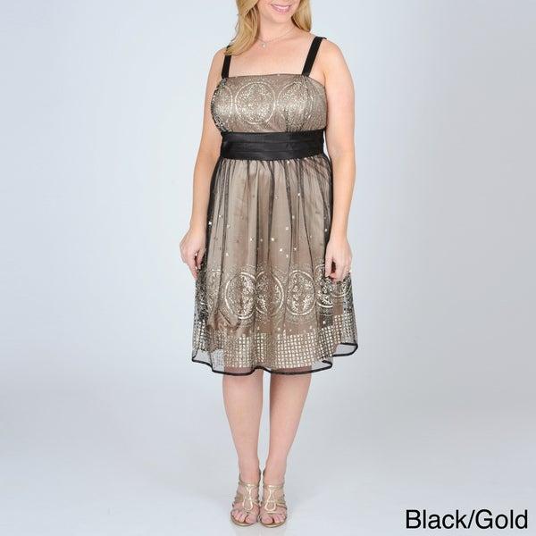 R & M Richards Women's Plus Mesh Overlay Party Dress