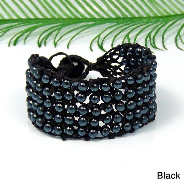 Handmade Hematite/ Silver Glass Beads Web Net Beauty Bracelet (Thailand)
