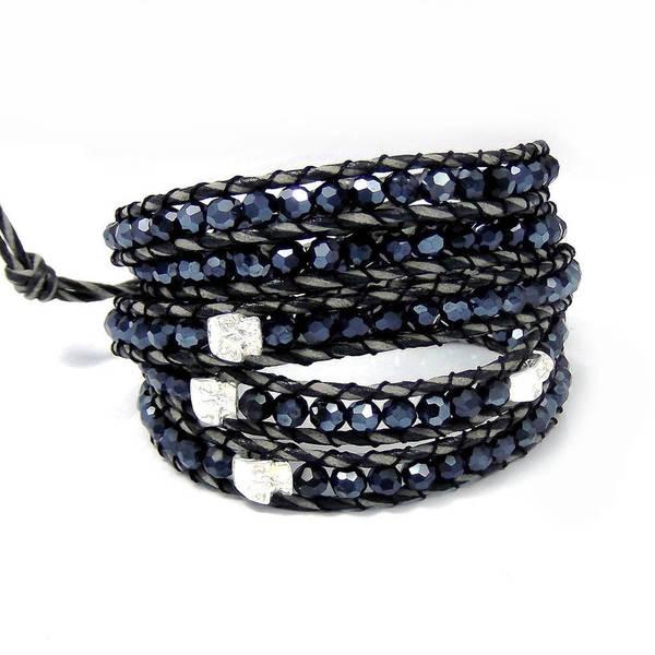 Handmade Eternal Smile Five Skulls Wrap Crystals Bracelet (Thailand)
