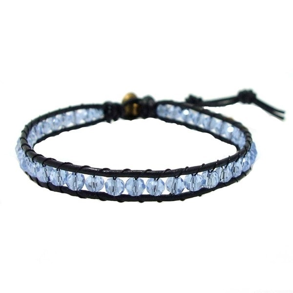 Handmade Blue Sparking Crystals Ohm Medallion Leather Bracelet (Thailand)