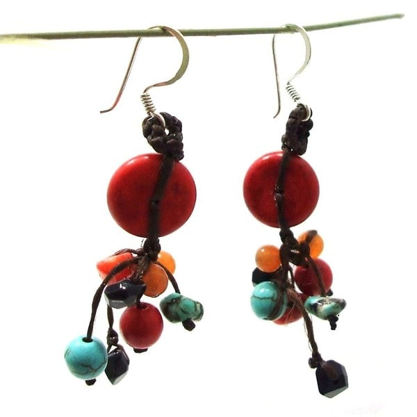 Handmade Red Turquoise Donut Multi Stone Showers Earrings (Thailand)