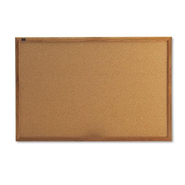 Quartet® Cork Bulletin Board, 3' x 2', Oak Finish Frame