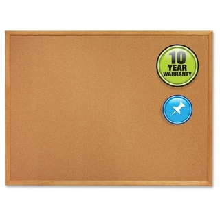 Quartet Cork Bulletin Board, 4' x 3', Oak Finish Frame