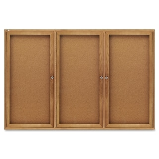 Quartet Enclosed Cork Bulletin Board for Indoor Use