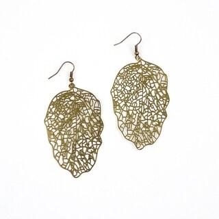 Pretty Little Style Bronze Plated Filigree Leaf Earrings