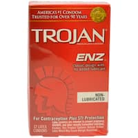 Trojan Enz Non-Lubricated Latex Condoms (Pack of 12)