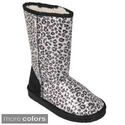 Journee Kids Girl's 'K-ugena-leo' Faux Suede Mid-calf Leopard Print Boots