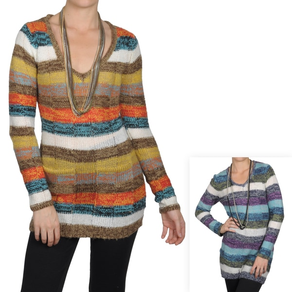 Journee Collection Junior's Striped V-neck Tunic Sweater
