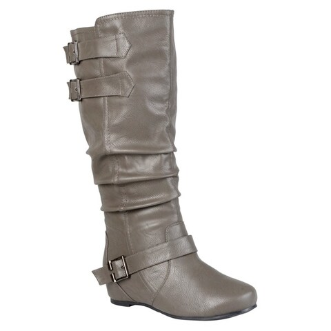Hailey Jeans Co. Women's 'Tiffany' Regular and Wide-calf Buckle Slouch Low-wedge Boot
