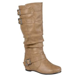 Hailey Jeans Co. Women's 'Tiffany' Regular and Wide-calf Buckle Slouch Low-wedge Boot|https://ak1.ostkcdn.com/images/products/7497459/P14940508.jpg?impolicy=medium