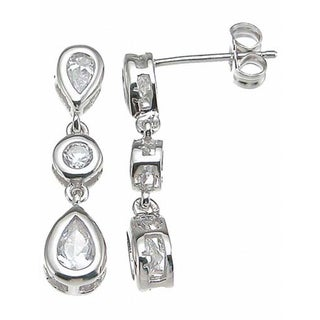 Plutus Sterling Silver Clear Cubic Zirconia 3-stone Earrings