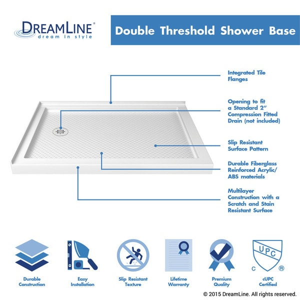 DreamLine SlimLine 36 In. By 48 In. Double Threshold Shower Base   Free  Shipping Today   Overstock.com   14940514