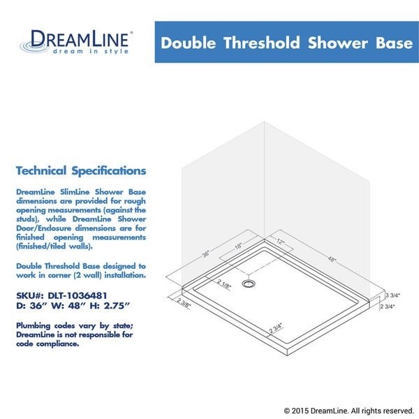 Double Threshold Shower Base   Free Shipping Today   Overstock.com    14940514