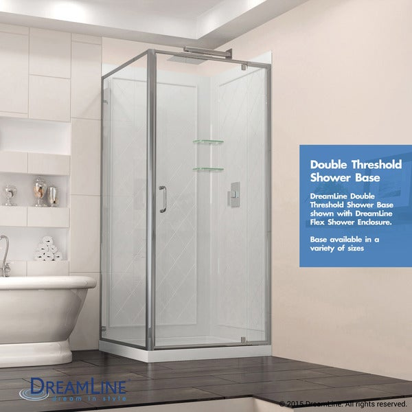 DreamLine SlimLine 32 In. By 32 In. Double Threshold Shower Base   Free  Shipping Today   Overstock.com   14940520