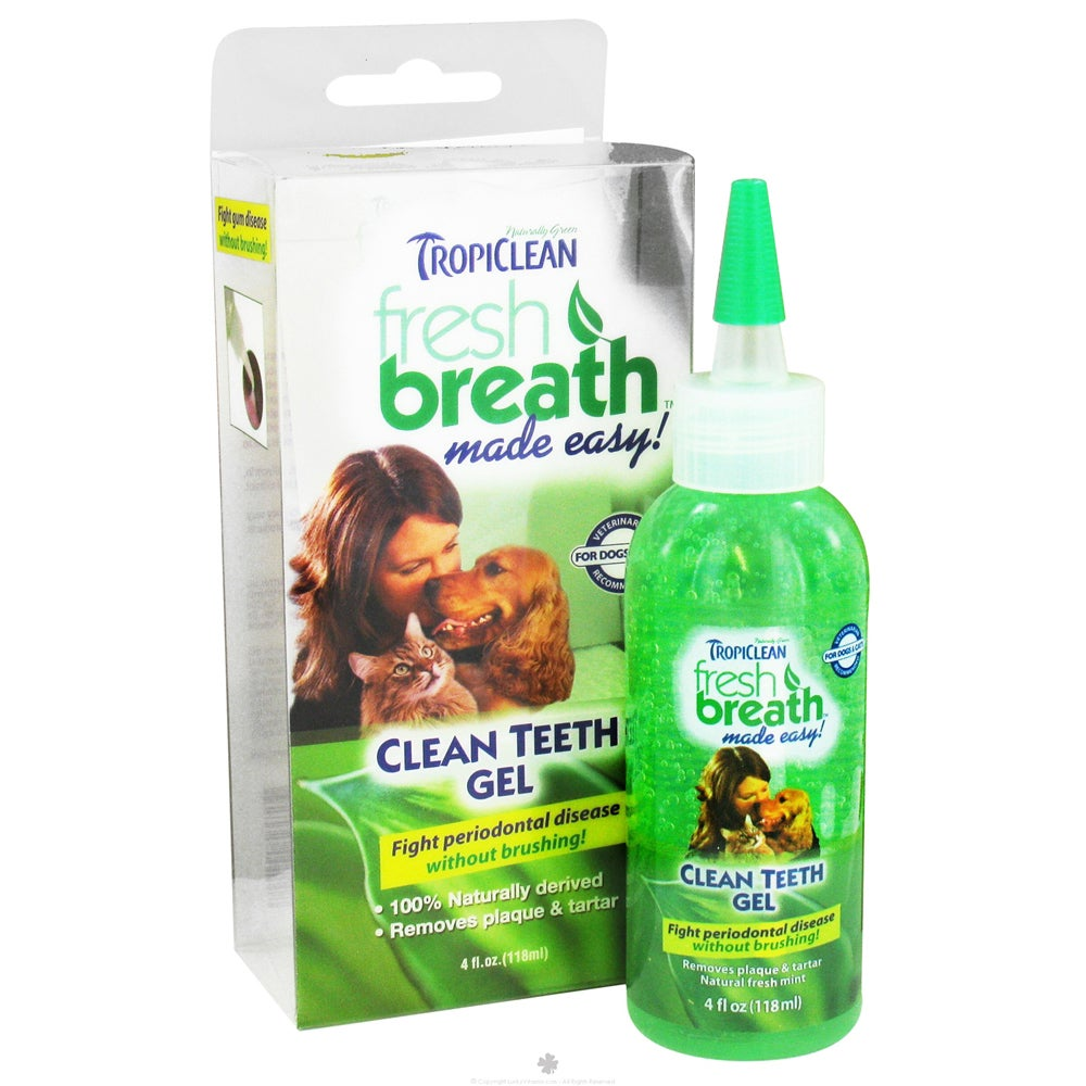 TropiClean Fresh Breath Clean Teeth Gel for Dogs 4. ounce...