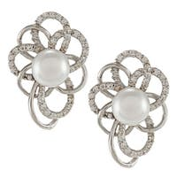 Sterling Silver White FW Pearl and Cubic Zirconia Earrings (6 mm)