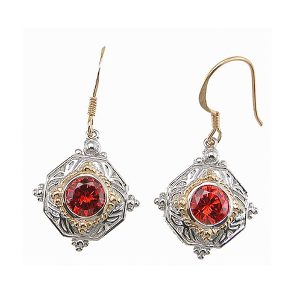 Plutus Sterling Silver Simulated Ruby Antique-style Earrings