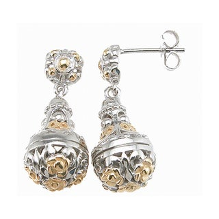 Plutus Two-tone Sterling Silver Floral Dangle Earrings