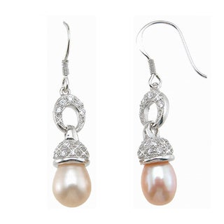 Plutus Sterling Silver Faux Pearl and Cubic Zirconia Earrings