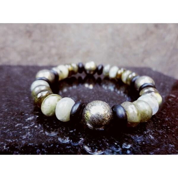 Pavcus Designs Pyrite, Labradorite, and Matte Black Stone Gemstone Stretch Bracelet