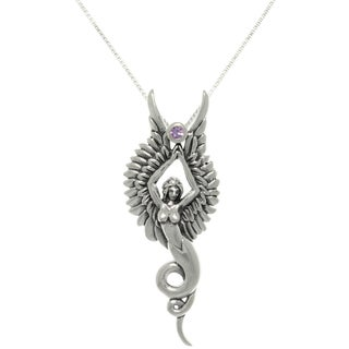 Silver Created Amethyst Phoenix Angel Necklace