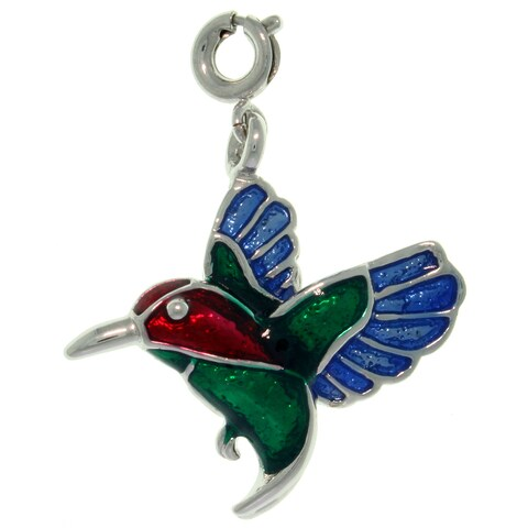 Pewter Colored Enamel Hummingbird Charm