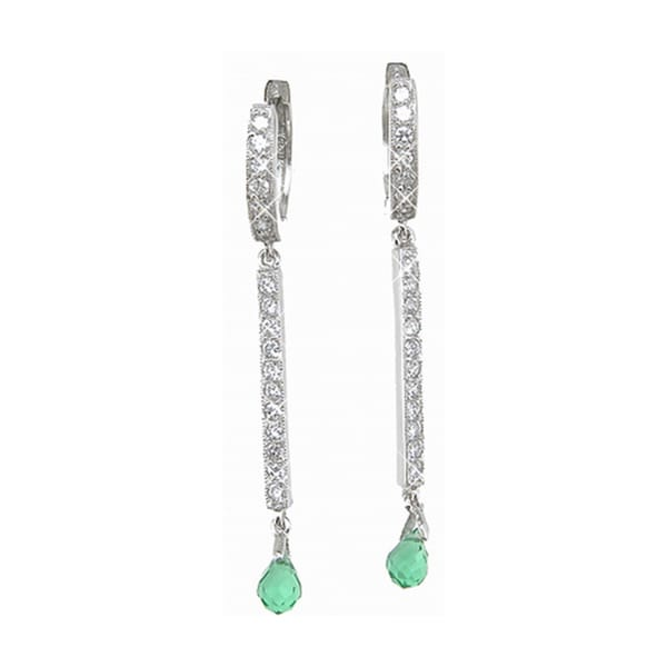 Plutus Sterling Silver Simulated Emerald and Cubic Zirconia Earrings