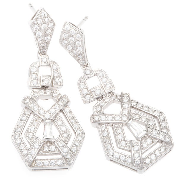 Plutus Sterling Silver TCW 1 3/4 carats Cubic Zirconia Vintage-style Chandelier Earrings
