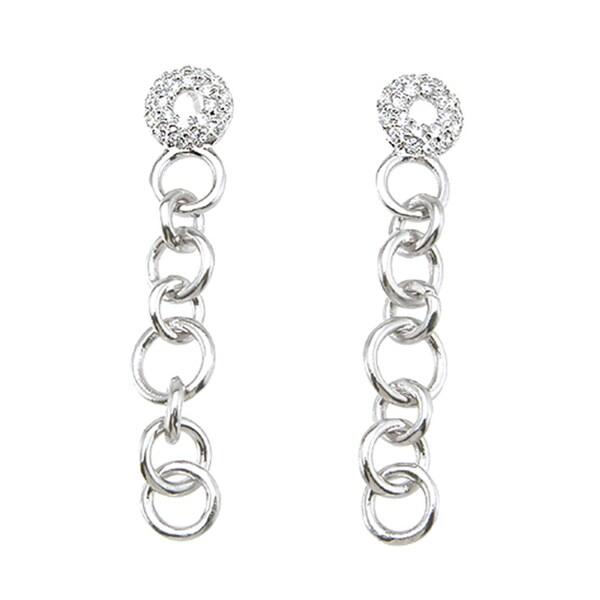 Plutus Sterling Silver Cubic Zirconia Ring Link Earrings