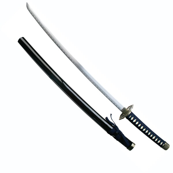 Katana Sword with Blue Cord-Wrapped Handle