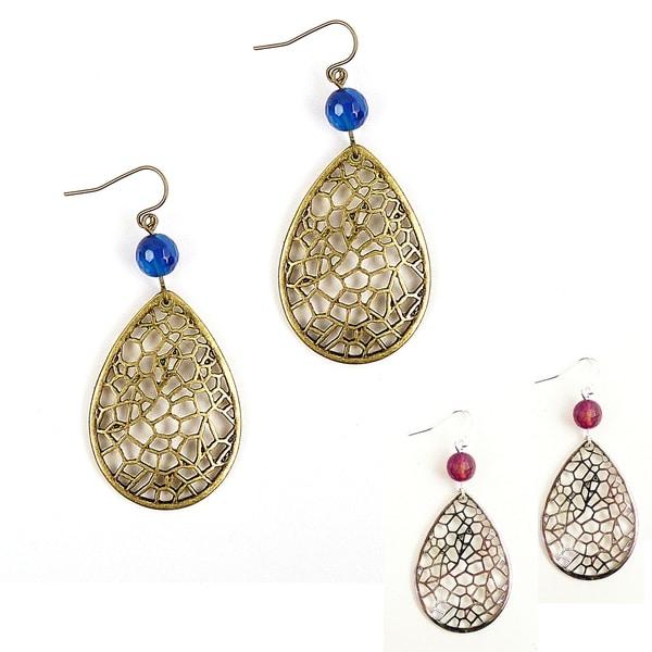 Pretty Little Style Bronze/ Silverplated Agate Earrings