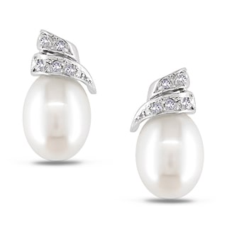 Miadora 14k White Gold Cultured Freshwater Pearl and Diamond Earrings (G-H, I1-I2)